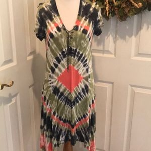 Tie-dye dress with chain tie feature, NWOT